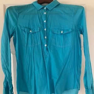 JCrew Turquoise Light Weight Long Sleeve Shirt